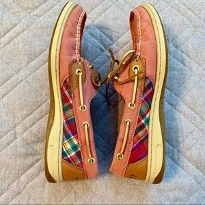 🆕🦋 Sperry Top-Siders, Size 8M, pink plaid